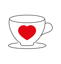 cup with heart icon vector image vector image