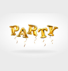 party gold letter metallic balloons characters in vector image vector image