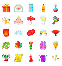 partying icons set cartoon style vector image vector image