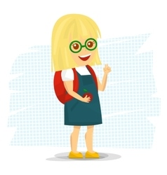 Schoolgirl with backpack vector image