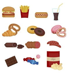 Set of colorful cartoon fast food icons vector image vector image