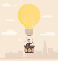 the businessman flies to the top with his idea vector image vector image