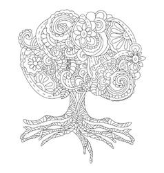 a fluffy big tree tattoo vector image