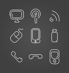 Electronics and mobile set icons draw effect vector image vector image
