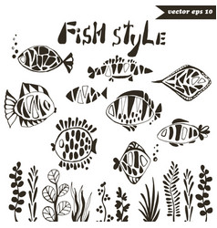 fish style set vector image vector image