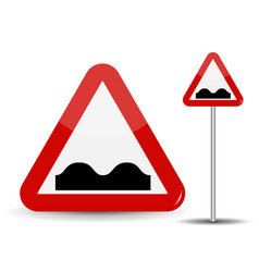 road sign warning uneven road in red triangle vector image
