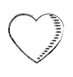 sketch heart love romantic valentine symbol vector image