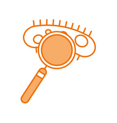 Study of bacteria with magnifying glass vector