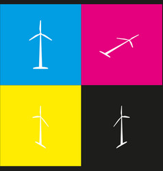 wind turbine logo or sign white icon with vector image vector image
