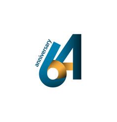 64 year anniversary template design vector