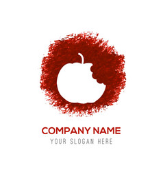 apple fruit icon - red watercolor circle splash vector image