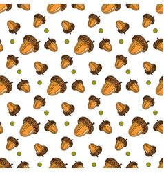 Autumn seamless pattern background oak acorns vector
