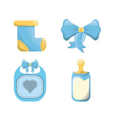 Baby showers cars and emblem decorations design vector