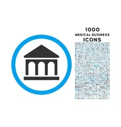 Bank Building Rounded Icon with 1000 Bonus Icons vector