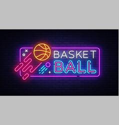 basketball neon sign basketball design vector image