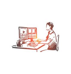 Blogger video vlog media online concept vector