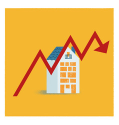 blue and orange house in flat style falling house vector image