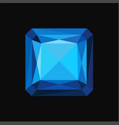 Blue sapphire precious square stone gemstone vector