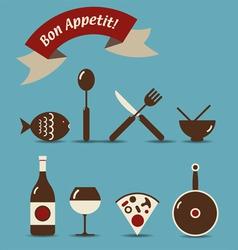 bon appetit icons vector image
