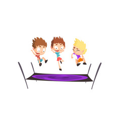 boys playing trampoline bouncing kids having fun vector image