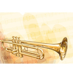 Brass Trumpet on musical background vector
