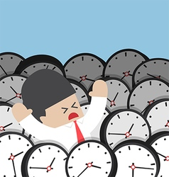 Businessman drowning in clock vector image