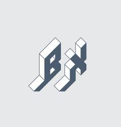 Bx - monogram or logotype isometric 3d font for vector