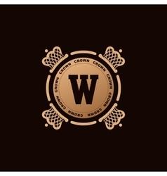 Calligraphic Luxury crown logo Emblem elegant vector image