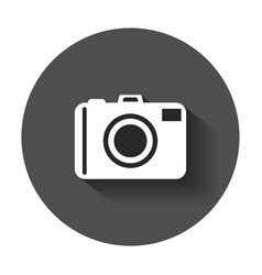 Camera flat icon with long shadow vector