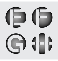 Capital letter E F G H of wide white vector
