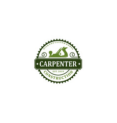 Carpenter industry logo design - plane wood log vector