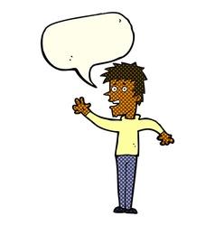 cartoon happy boy waving with speech bubble vector image vector image