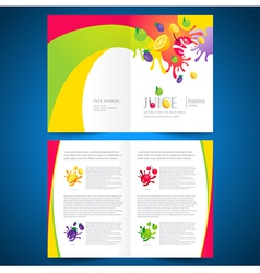catalog brochure folder fruit juice liquid splash vector image