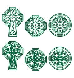 celtic irish cross retro design set green vector image