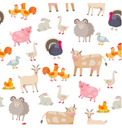 Cheerful cute farm animals seamless pattern vector