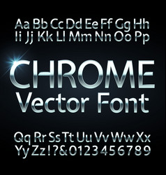 Chrome steel or silver letters and numbers vector