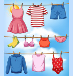 cloth hanging on rope vector image