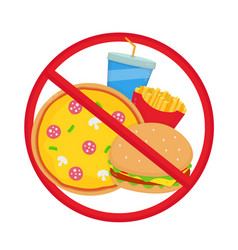 Crossed out junk food pizza burger vector