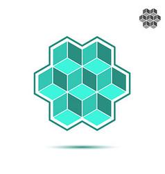 Cubic logo template brickwork concept vector