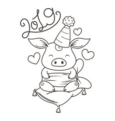 cute cartoon pig in love symbol of new 2019 year vector image