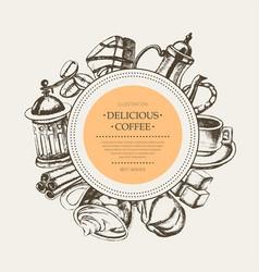 delicious coffee - monochromatic hand drawn round vector image