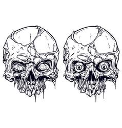 detailed graphic white human skulls set vector image