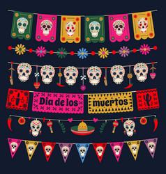 Dia de los muertos bunting flags mexican dead day vector