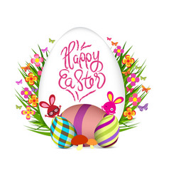 easter egg and bunny poster springtime flowers vector image