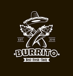 emblem with burrito vector image