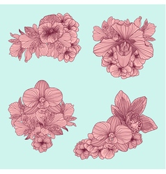 et of vintage flowers compositions vector image