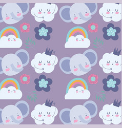 faces elephant flowers rainbow cloud cartoon cute vector image
