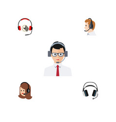 Flat call set of headphone help service and vector