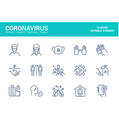 Flat line icons design-coronavirus vector