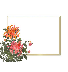 Floral frame template with chrysanthemum flowers vector